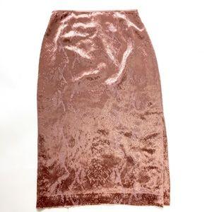 Dusty Rose Pink Textured Velvet High Waist Skirt 2